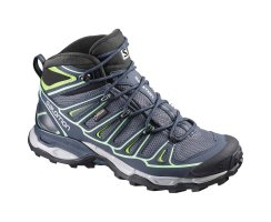 SALOMON X ULTRA MID 2 GTX GREY DENIM/DEEP BLUE/LUCITE GREEN