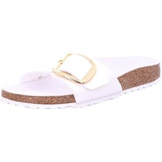 BIRKENSTOCK UNISEX MADRID BIG BUCKLE NARROW FIT WHITE PATENT
