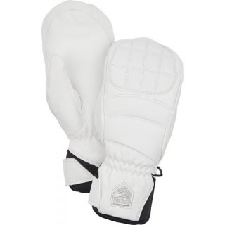 HESTRA WOMAN LEATHER FALL LINE MITT WHITE