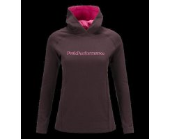 PEAK PERFORMANCE W KATE HOODED MID-LAYER MAHOGANY