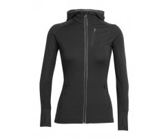 ICEBREAKER QUANTUM LONG SLEEVE ZIP HOOD WOMEN BLACK