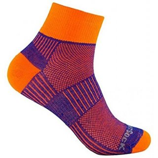 WRIGHT SOCKS COOLMESH II QUARTER ROYAL-ORANGE