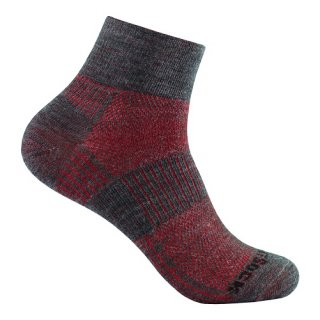 WRIGHT SOCKS MERINO COOLMESH II QUARTER GREY-RED