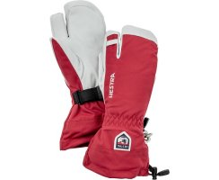 HESTRA ARMY LEATHER HELI SKI 3 FINGER RED