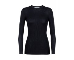 ICEBREAKER WOMENS VALLEY SLIM CREWE SWEATER BLACK