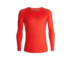 ICEBREAKER MENS 150 ZONE LONG SLEEVE CREWE CHILI RED/MONSOON