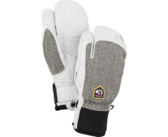 HESTRA ARMY LEATHER PATROL GAUNTLET MITT 3 FINGER LIGHT GREY