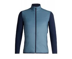 ICEBREAKER MENS DESCENDER HYBRID JACKET GRANITE BLUE/DARK...