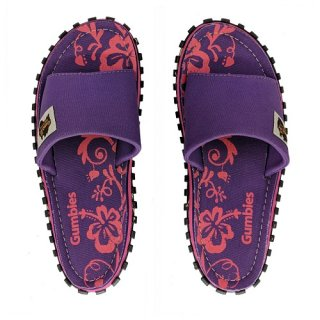 GUMBIES UNISEX SLIDE PURPLE HIBISCUS